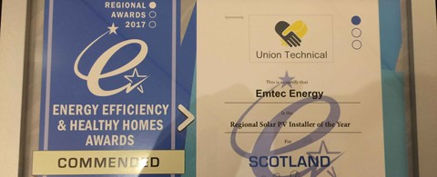 Bronze award for Solar PV Installer of the Year at the Scottish regional Energy Efficiency and Healthy Homes Awards